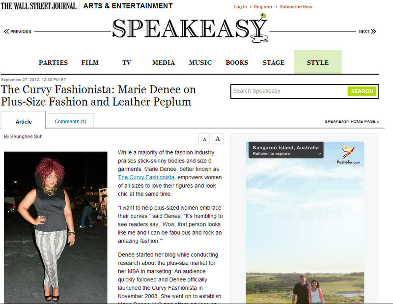 The Curvy Fashionista in the Press: Wall Street Journal Speakeasy Feature