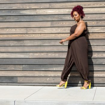 Marie Denee in City Chic Online Brown Jumpsuit