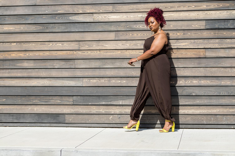 Marie Denee in City Chic Online Brown Jumpsuit