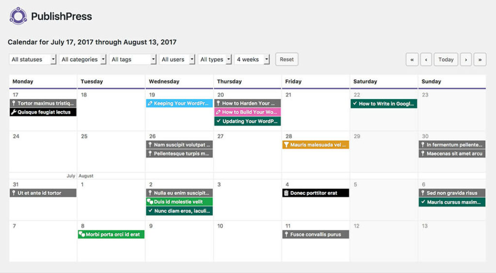 7 Time Saving Blogging Tools- Publishpress calendar
