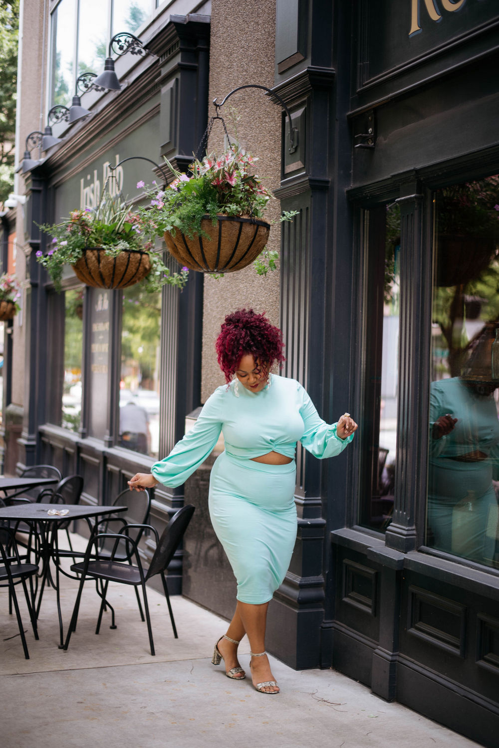 Plus Size Blogger- Marie Denee in Rebdolls Teal two piece set